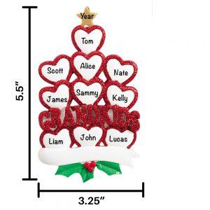 Ten Grandkids Personalized Christmas Ornament