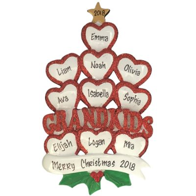 Grandkids Hearts Family of 10 Personalized Ornament