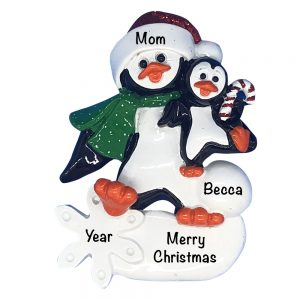 Penguin Parent with 1 Kids Personalized Christmas Ornament