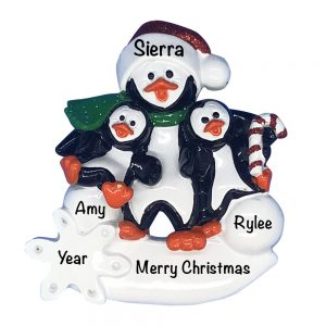 Penguin Parent with 2 Kids Personalized Christmas Ornament