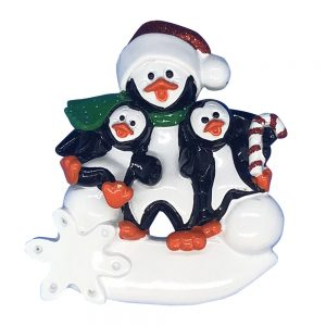 Penguin Parent with 2 Kids Personalized Christmas Ornament - Blank