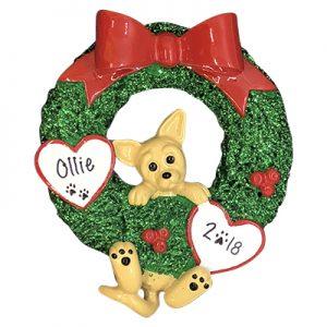 Chihuahua Glitter Wreath Personalized Ornament
