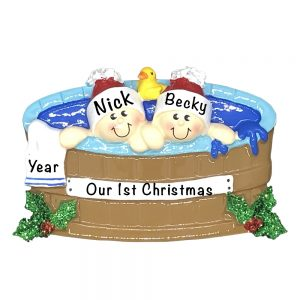Hot Tub Couple Personalized Christmas Ornament