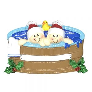 Hot Tub Couple Personalized Christmas Ornament - blank