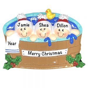 Hot Tub Family of 3 Personalized Christmas Ornament