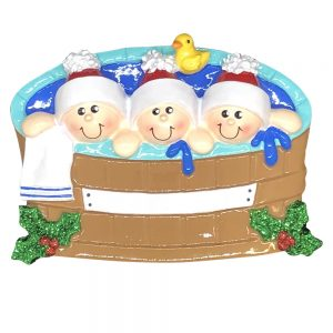 Hot Tub Family of 3 Personalized Christmas Ornament - blank