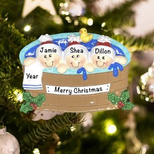 Personalized Hot Tub Heaven Family of 3 Christmas Ornament
