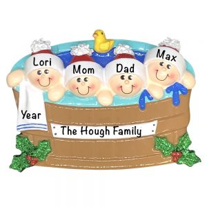 Hot Tub Family of 4 Personalized Christmas Ornament