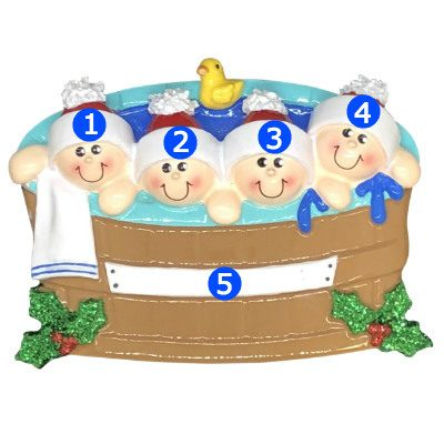 Hot Tub Heaven Family of 4 Personalized Ornament
