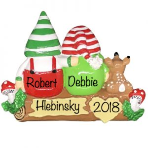 Gnomes Family of 2 Personalized Ornament