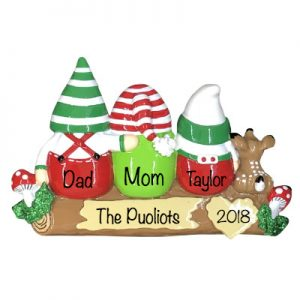 Gnomes Family of 3 Personalized Ornament