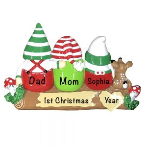 Gnome Family of 3 Personalized Christmas Ornament