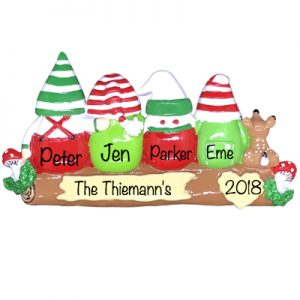 Gnomes Family of 4 Personalized Ornament