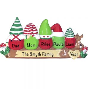 Gnome Family of 5 Personalized Christmas Ornament