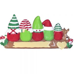Gnome Family of 5 Personalized Christmas Ornament - Blank