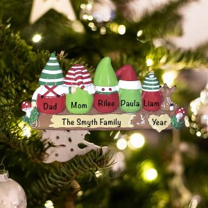 Personalized Gnome Family of 5 Christmas Ornament