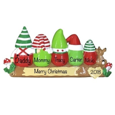 Gnomes Family of 5 Personalized Ornament