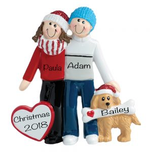 Winter Couple With Dog Personalized Ornament