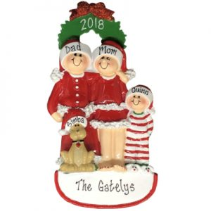 Christmas Family of 3 with Dog Personalized Ornament