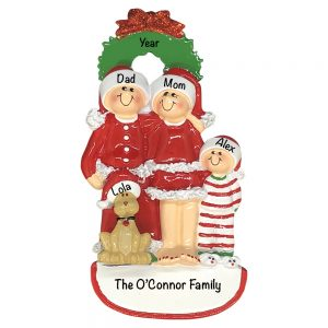 Christmas Family of 3 With Dog Personalized Christmas Ornament