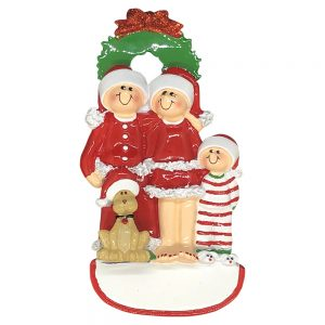Christmas Family of 3 With Dog Personalized Christmas Ornament - Blank