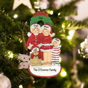 Personalized Christmas Family of 3 with Dog Christmas Ornament