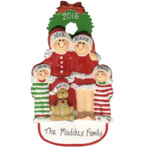 Christmas Family of 4 with Dog Personalized Ornament