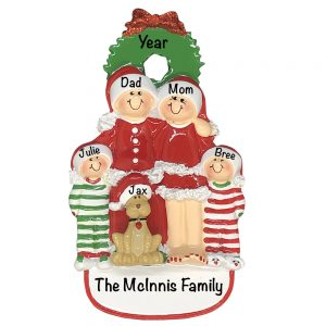 Christmas Family of 4 With Dog Personalized Christmas Ornament