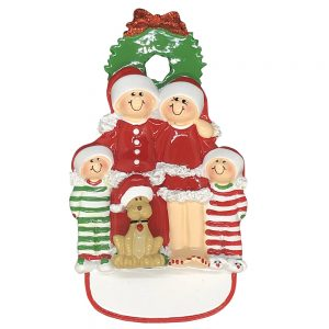 Christmas Family of 4 With Dog Personalized Christmas Ornament - Blank