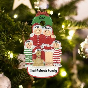 Personalized Christmas Family of 4 with Dog Christmas Ornament