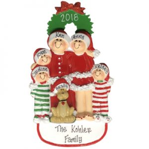 Christmas Family of 5 with Dog Personalized Ornament