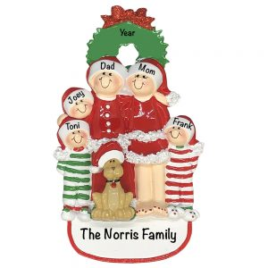 Christmas Family of 5 With Dog Personalized Christmas Ornament