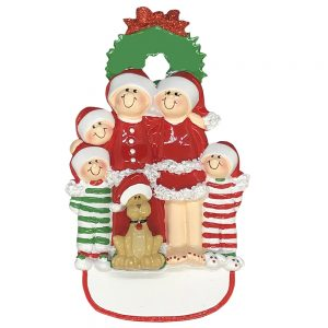 Christmas Family of 5 With Dog Personalized Christmas Ornament - Blank