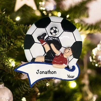 Personalized Soccer Kick Boy Christmas Ornament