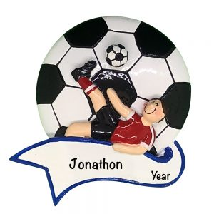 Soccer Kick Boy Personalized Christmas Ornament