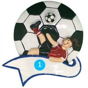 Soccer Kick Girl Personalized Ornament