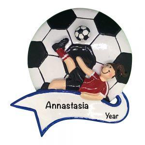 Soccer Kick Girl Personalized Christmas Ornament