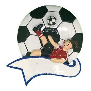 Soccer Kick Girl Personalized Christmas Ornament - Blank