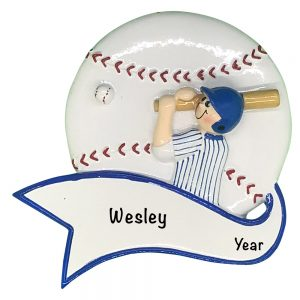 Baseball Boy Swing Personalized Christmas Ornament