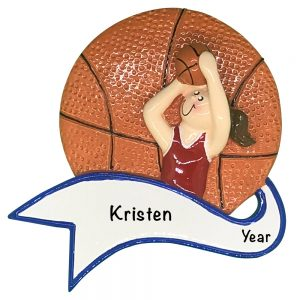 Basketball Girl Shooting Personalized Christmas Ornament