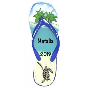 Flip Flop Turtle Beach Island Personalized Christmas Ornament