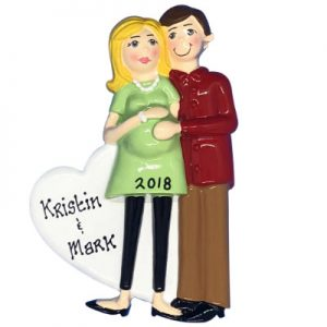 Pregnant Couple Green Dress - Blonde Personalized Ornament