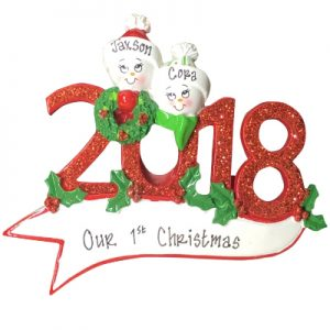 2018 Snow Family of 2 Personalized Ornament