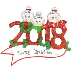 2018 Snow Family of 3 Personalized Ornament