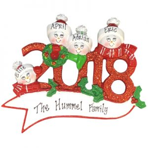 2018 Snow Family of 4 Personalized Ornament