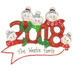 2018 Snow Family of 5 Personalized Ornament