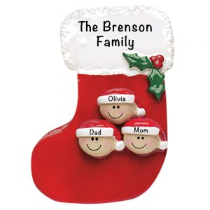 Stocking Family of 3 Personalized Christmas Ornament
