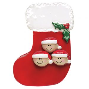 Stocking Family of 3 Personalized Christmas Ornament - Blank