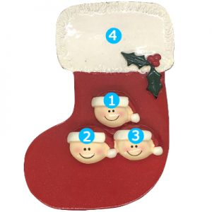 Red Stocking Family of 3 Personalized Ornament