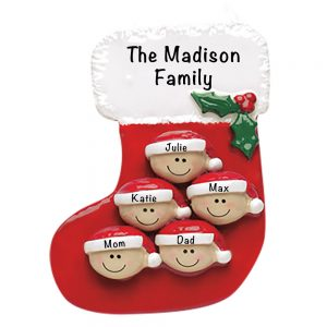 Stocking Family of 5 Personalized Christmas Ornament